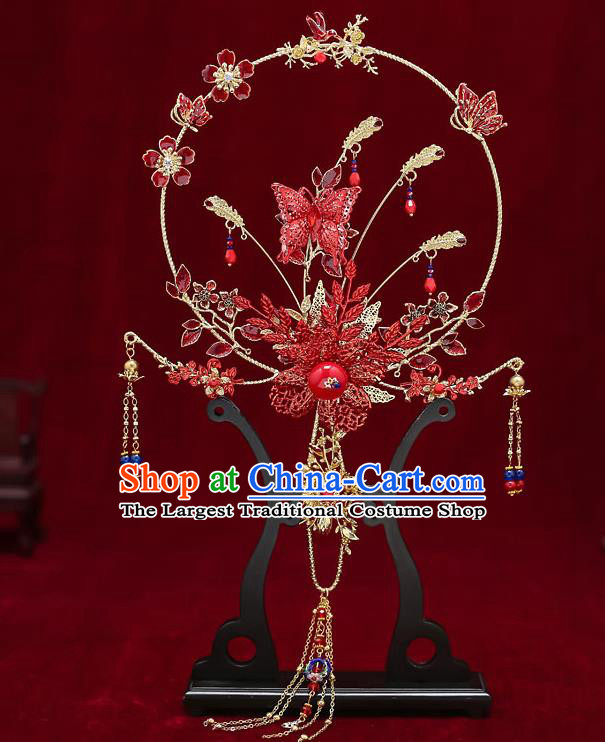Chinese Handmade Wedding Red Butterfly Palace Fans Classical Fans Ancient Bride Tassel Round Fans