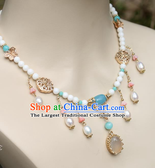Chinese Handmade Tang Dynasty Necklet Classical Jewelry Accessories Ancient Princess Hanfu Necklace for Women