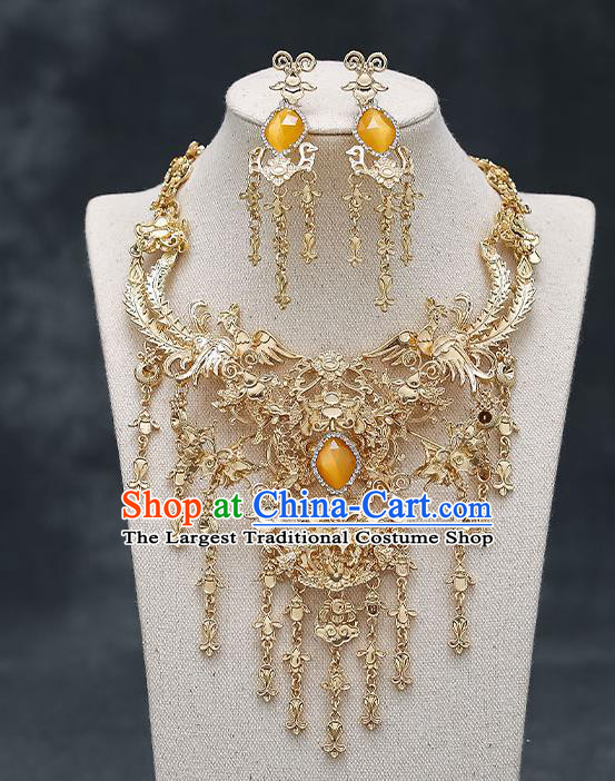Chinese Handmade Hanfu Golden Phoenix Necklet and Earrings Classical Jewelry Accessories Ancient Wedding Necklace for Women