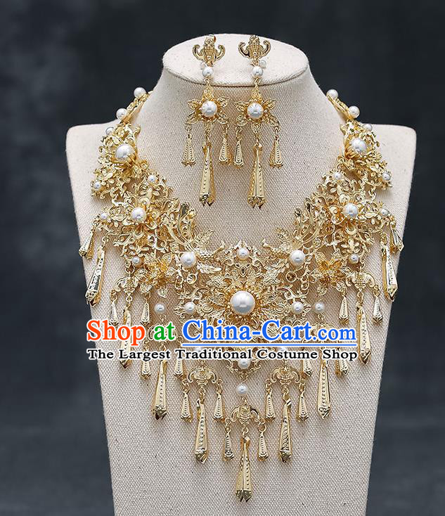 Chinese Handmade Hanfu Golden Peony Necklet and Earrings Classical Jewelry Accessories Ancient Wedding Necklace for Women