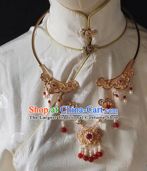Chinese Handmade Ming Dynasty Necklet Classical Jewelry Accessories Ancient Princess Hanfu Golden Necklace for Women