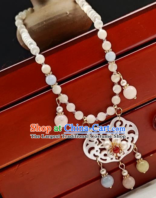 Chinese Handmade Ming Dynasty Necklet Classical Jewelry Accessories Ancient Princess Hanfu Shell Necklace for Women