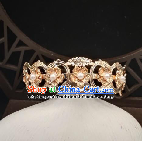 Chinese Classical Pearls Hair Crown Handmade Hanfu Hair Accessories Ancient Tang Dynasty Princess Golden Plum Hairpins