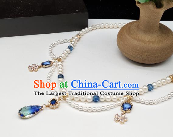 Chinese Handmade Ming Dynasty Hanfu Necklet Classical Jewelry Accessories Ancient Princess Crystal Tassel Necklace for Women
