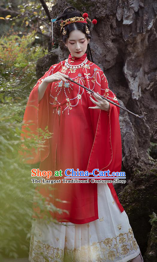 Chinese Ancient Court Lady Hanfu Apparels Traditional Ming Dynasty Palace Princess Historical Costumes Embroidered Red Gown and Skirt Full Set