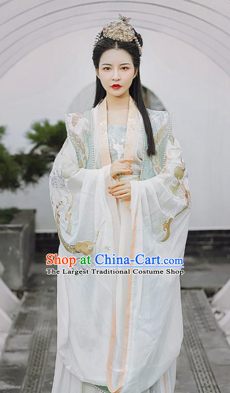 Chinese Ancient Royal Queen Hanfu Apparels Traditional Song Dynasty Empress Historical Costumes Embroidered BeiZi Blouse and Skirt Complete Set