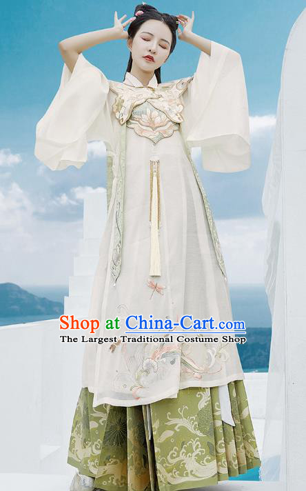 Chinese Ancient Royal Lady Hanfu Apparels Traditional Ming Dynasty Palace Princess Embroidered Historical Costumes