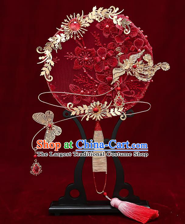 Chinese Handmade Wedding Red Lace Flowers Palace Fans Classical Fans Ancient Bride Golden Butterfly Round Fans