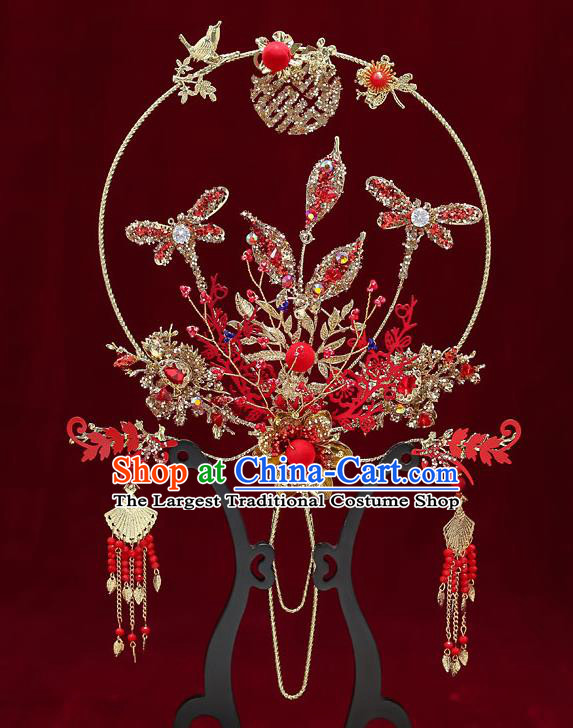 Chinese Handmade Wedding Red Crystal Dragonfly Palace Fans Classical Fans Ancient Bride Golden Round Fans