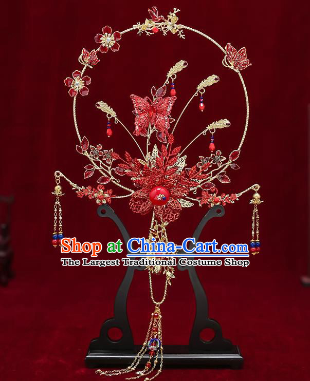 Chinese Handmade Wedding Red Butterfly Plum Palace Fans Classical Fans Ancient Bride Tassel Round Fans