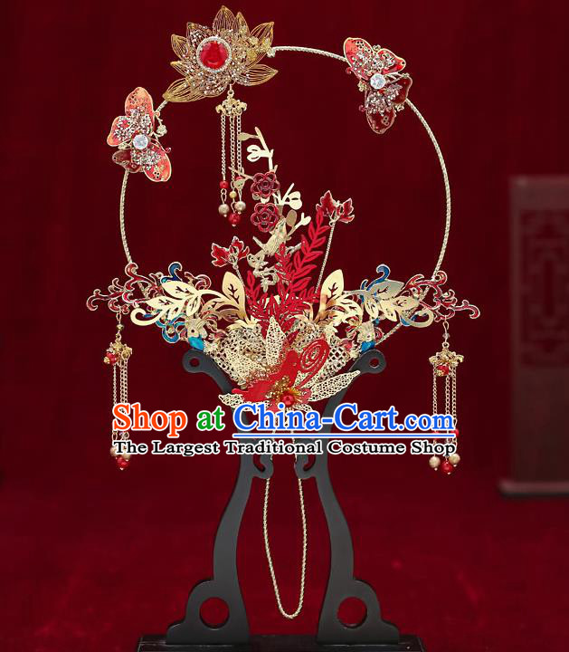 Chinese Handmade Wedding Red Butterfly Lotus Palace Fans Classical Fans Ancient Bride Tassel Round Fans