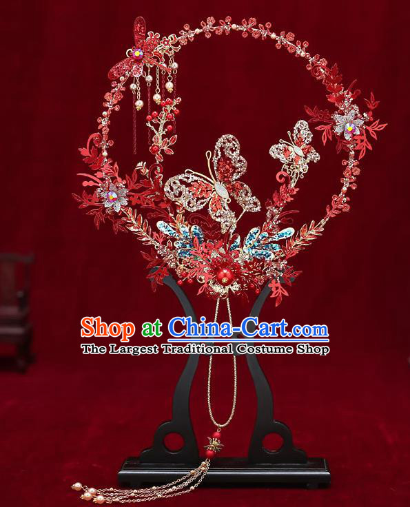 Chinese Handmade Wedding Red Dragonfly Butterfly Palace Fans Classical Fans Ancient Bride Round Fans