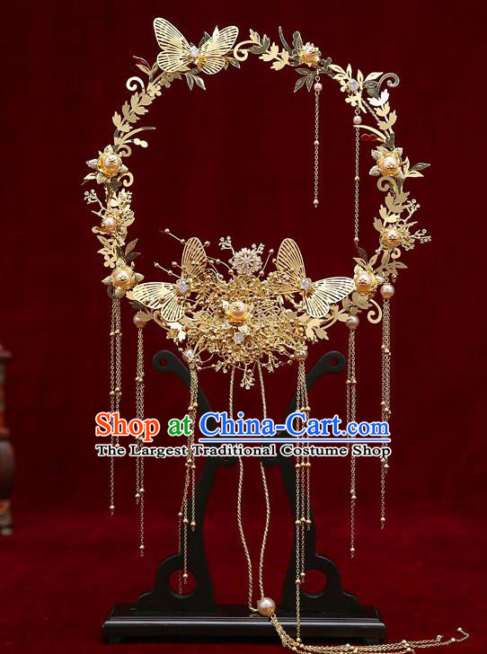 Chinese Handmade Golden Palace Fans Classical Fans Ancient Bride Props Butterfly Fans