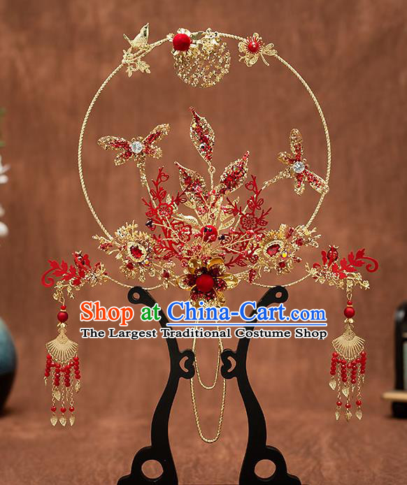 Chinese Handmade Golden Palace Fans Classical Fans Ancient Bride Props Red Dragonfly Fans