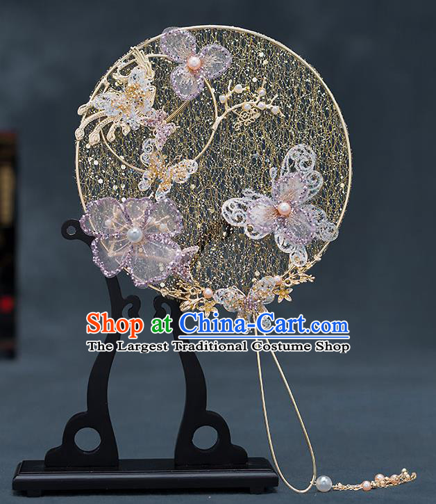 Chinese Handmade Golden Palace Fans Classical Fans Ancient Bride Props Lilac Butterfly Flowers Round Fans