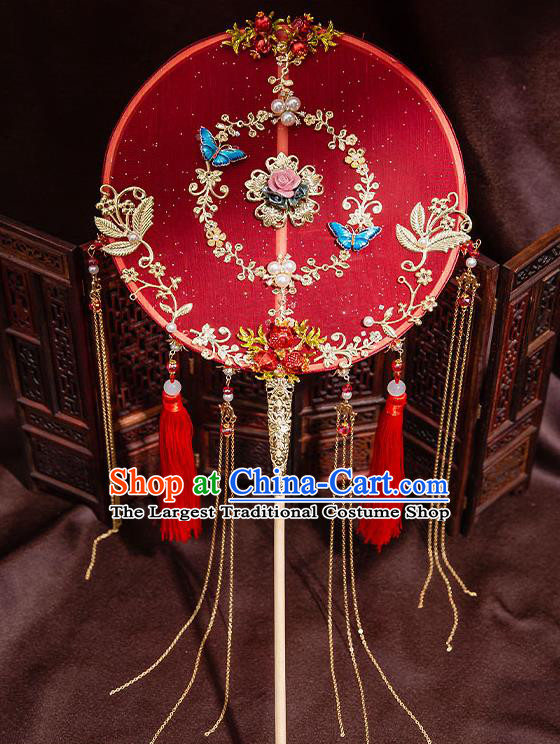 Chinese Handmade Tassel Palace Fans Classical Fans Ancient Bride Props Red Silk Round Fans