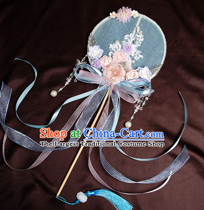 Chinese Handmade Silk Rose Flowers Palace Fans Classical Fans Ancient Bride Props Ribbon Round Fans