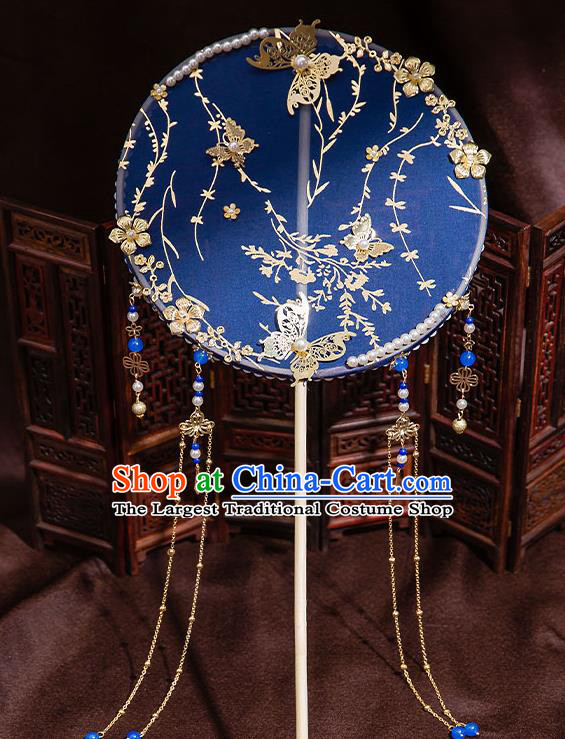 Chinese Handmade Royalblue Silk Palace Fans Classical Fans Ancient Bride Props Tassel Round Fans