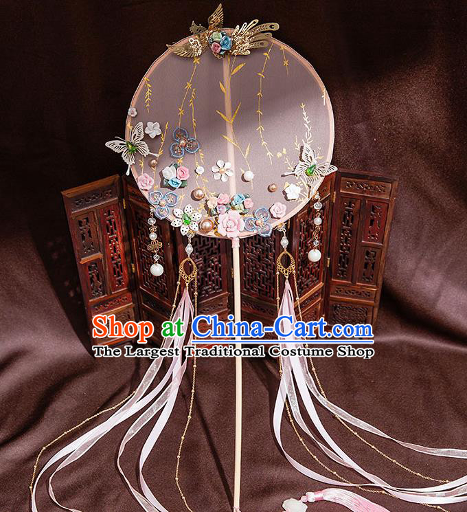 Chinese Handmade Pink Silk Palace Fans Classical Fans Ancient Bride Props Ribbon Tassel Round Fans