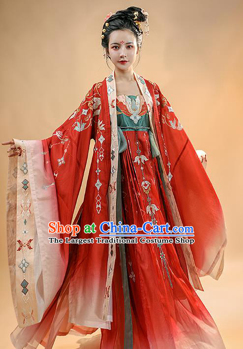 Chinese Ancient Tang Dynasty Imperial Concubine Historical Costumes Traditional Hanfu Apparels Embroidered Red Cape and Dress