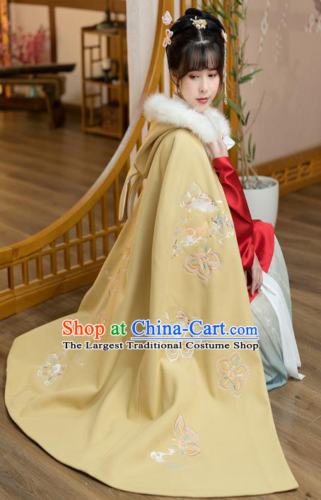 Chinese Traditional Ancient Court Lady Hanfu Apparels Ming Dynasty Historical Costumes Embroidered Yellow Woolen Cloak