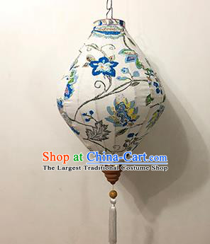 Chinese Traditional Ink Painting Palace Lanterns Handmade Hanging Lantern Festive New Year Classical Blue Flowers Lamp