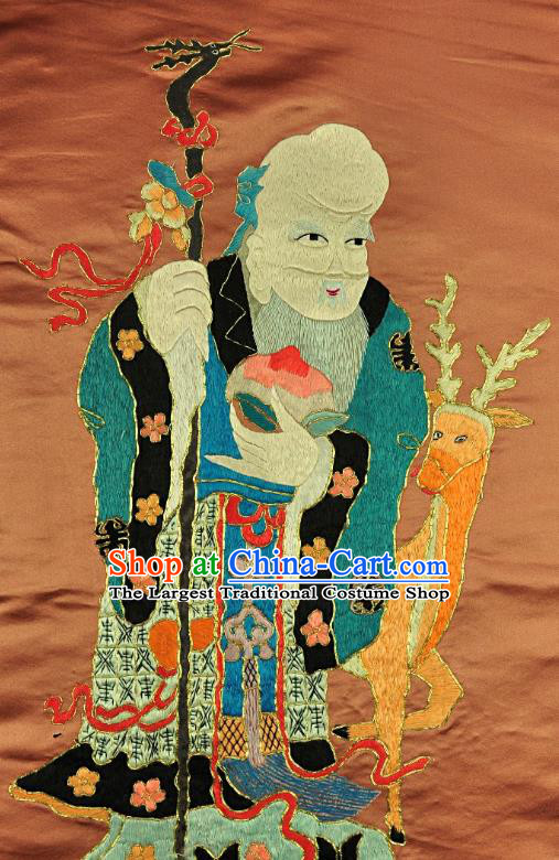 Traditional Chinese Embroidered Longevity God Decorative Painting Hand Embroidery Deer Silk Picture Craft