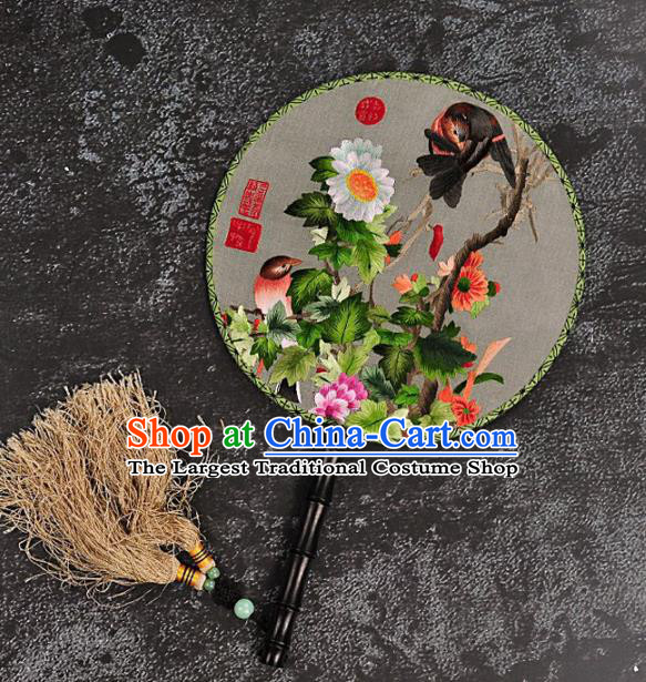 Chinese Traditional Embroidered Palace Fans Craft Handmade Embroidery Chrysanthemum Birds Round Fan Silk Fan