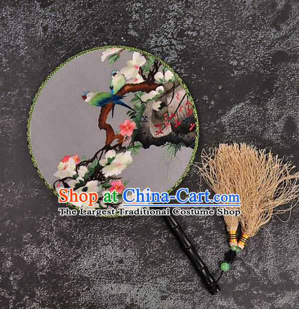Chinese Traditional Embroidered Peach Blossom Palace Fans Craft Handmade Embroidery Birds Round Fan Silk Fan