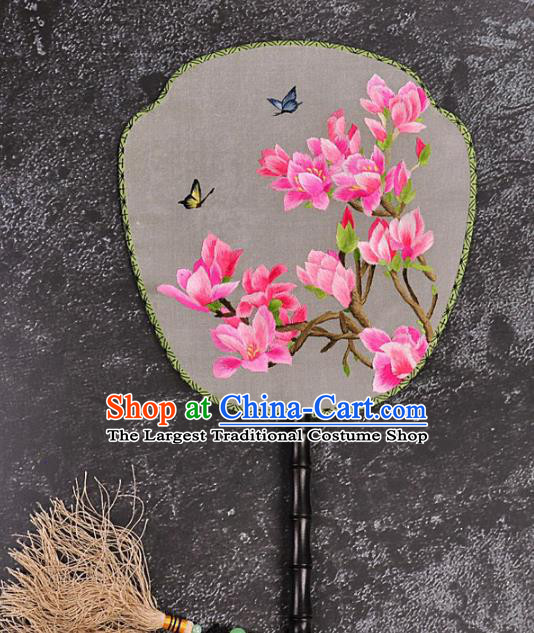Chinese Traditional Embroidered Yulan Magnolia Silk Fans Craft Handmade Embroidery Palace Fan
