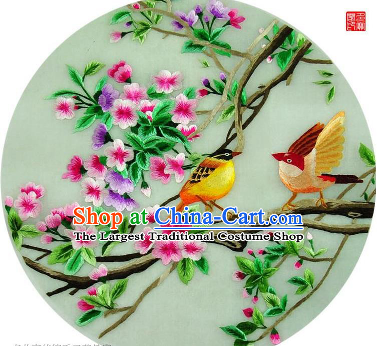 Traditional Chinese Embroidered Birds Decorative Painting Hand Embroidery Flowers Silk Round Wall Picture Craft