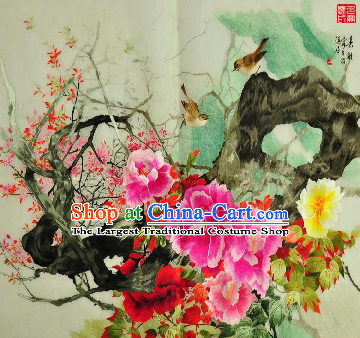 Traditional Chinese Embroidered Flowers Bird Decorative Painting Hand Embroidery Peony Silk Wall Picture Craft