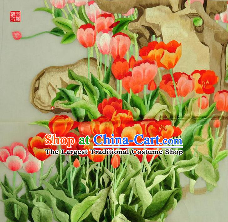 Traditional Chinese Embroidered Flowers Decorative Painting Hand Embroidery Tulip Silk Wall Picture Craft