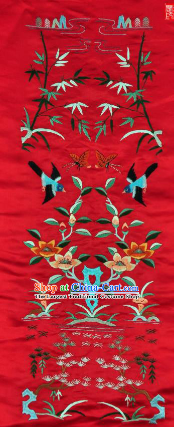 Traditional Chinese Embroidered Flowers Bird Decorative Painting Hand Embroidery Pine Red Silk Wall Picture Craft
