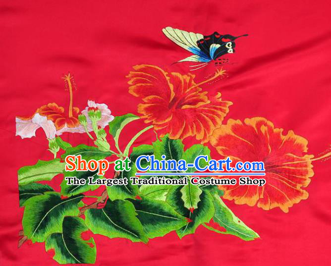 Traditional Chinese Embroidered Butterfly Flowers Decorative Painting Hand Embroidery Red Silk Wall Picture Craft