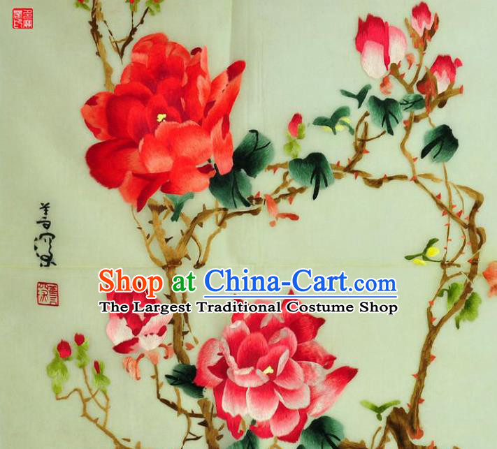 Traditional Chinese Embroidered Peony Flowers Decorative Painting Hand Embroidery Silk Wall Picture Craft