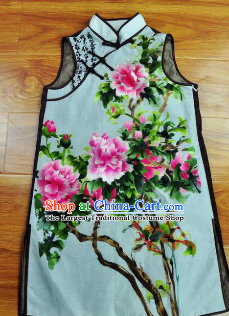 Traditional Chinese Embroidered Peony Vest Hand Su Embroidery Tang Suit Blue Silk Waistcoat for Women