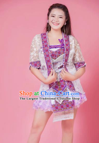 Yunnan Ethnic Stage Show Apparels China Miao Nationality Clothing Minority Folk Dance Short Dress