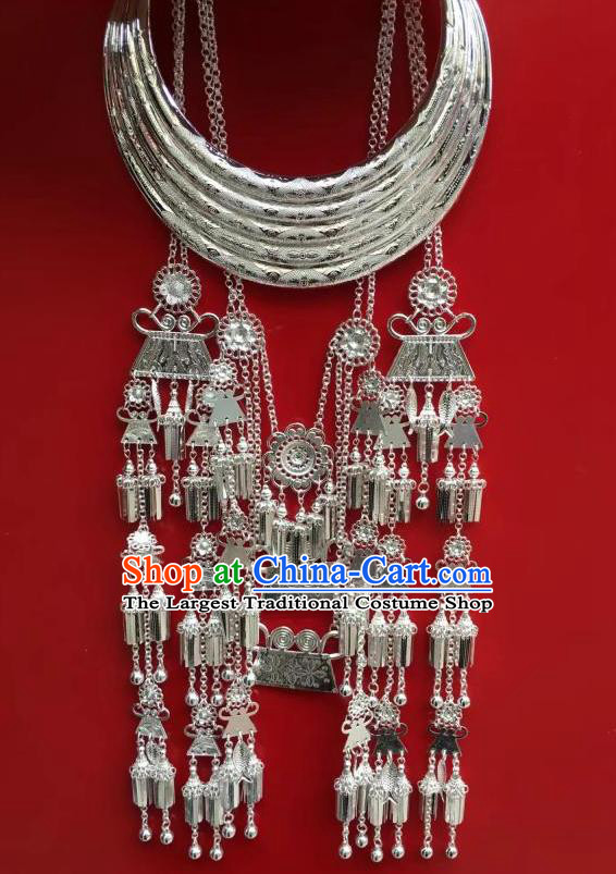 Chinese Miao Nationality Stage Performance Jewelry Accessories Traditional Minority Ethnic Dance Argent Tassel Necklace