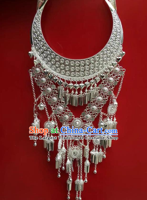 Chinese Traditional Minority Ethnic Stage Performance Necklace Miao Nationality Wedding Jewelry Accessories