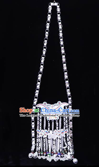 China Traditional Dong Ethnic Jewelry Accessories Miao Silver Butterfly Necklace Minority Stage Show Necklet