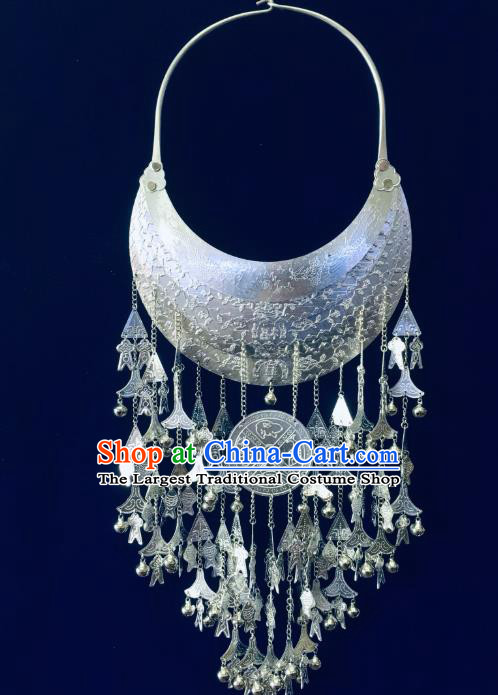 China Hainan Li Ethnic Argent Necklace Traditional Minority Folk Dance Jewelry Accessories