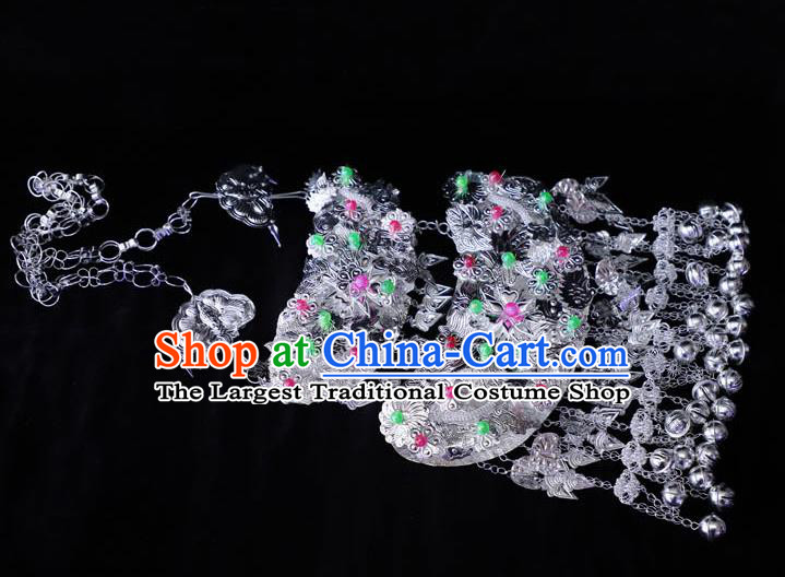 China Miao Ethnic Folk Dance Jewelry Accessories Traditional Minority Stage Show Bells Tassel Necklace
