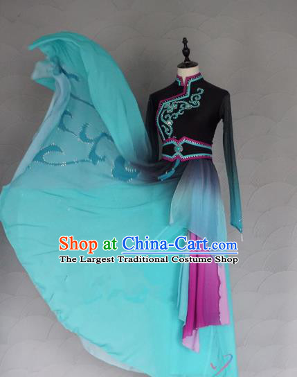China Traditional Mongol Nationality Costumes Ethnic Folk Dance Clothing Mongolian Minority Dance Blue Dress for Women