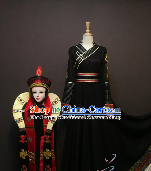 China Traditional Ethnic Saurden Dance Clothing Mongol Nationality Black Dress Mongolian Minority Women Costumes and Hat