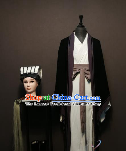 China Ancient Scholar Clothing Drama Three Kingdoms Period Strategist Zhuge Liang Costumes and Hat