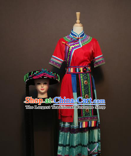 Custom China Xiangxi Tujia Ethnic Clothing Traditional Yao Minority Costumes Nationality Folk Dance Outfits and Headwear