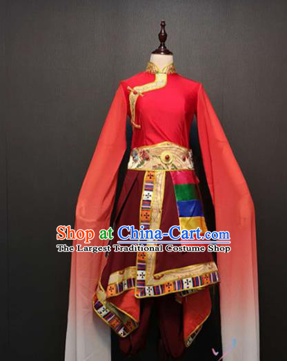 Custom China Zang Nationality Red Dress Ethnic Folk Dance Clothing Traditional Tibetan Minority Water Sleeve Costumes