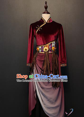 Custom China Ethnic Clothing Zang Nationality Folk Dance Dress Traditional Tibetan Minority Wine Red Velvet Costumes
