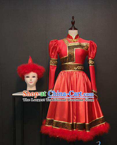Custom China Mongolian Ethnic Clothing Mongol Nationality Folk Dance Red Dress Traditional Minority Costumes and Hat